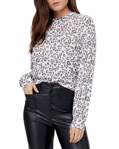 Veronica Leopard-Print Puff-Sleeve Top