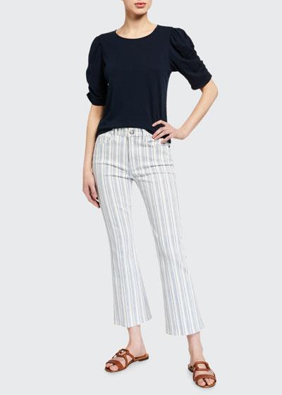 Le Crop Mini Boot Striped Jeans
