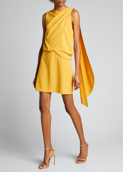 Asymmetric Shoulder Drape Stretch Moss Crepe Dress