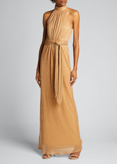 Ruched Metallic Jersey Halter Gown