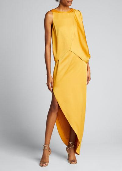 Dramatic Satin Drape Asymmetrical Pebble Crepe Gown