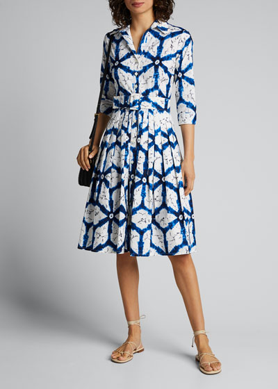 Audrey 2 Todaji Printed 3/4-Sleeve Belted Shirtdress