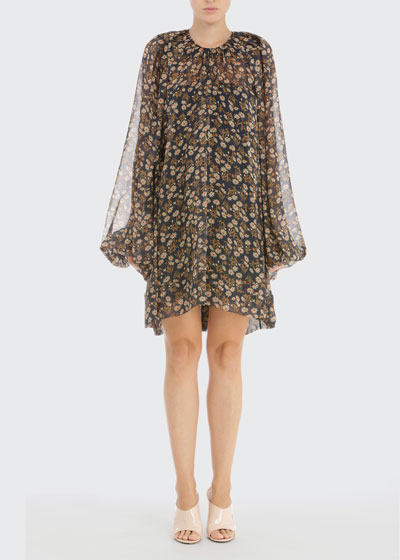 Floral Chiffon Swing Dress