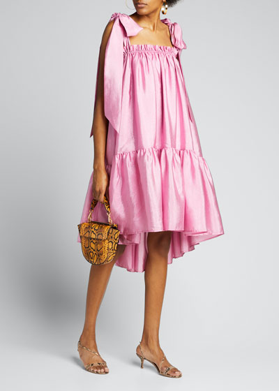 Serena Tie-Shoulder Flounce Dress