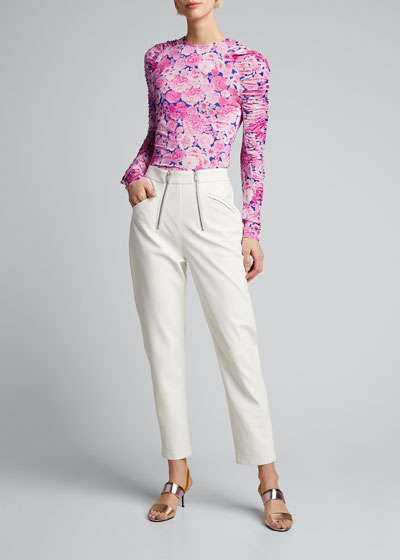Carlin Ruched Long-Sleeve Floral Top