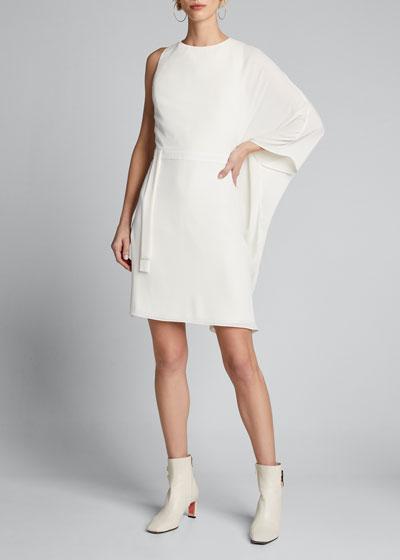 Flowy-Sleeve Asymmetrical Georgette Dress