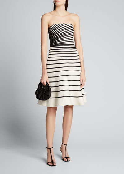 Colorblock Striped Strapless Faille Dress