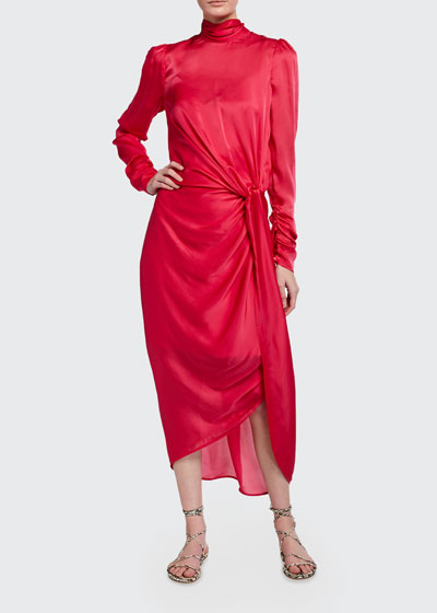 Draped Long-Sleeve Asymmetric Cocktail Dress