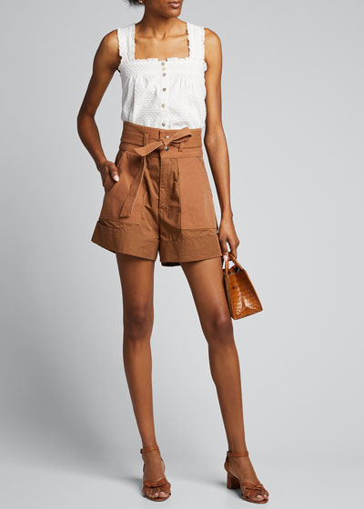 April Button-Front Sleeveless Blouse