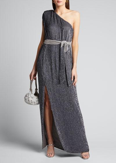 Vivien Sequined Off-Shoulder Belted Cocktail Dress