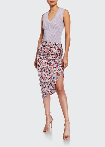 Ari Ruched Floral Asymmetric Skirt