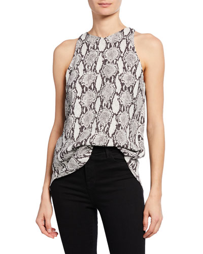 Anise Sleeveless Snake-Print Top