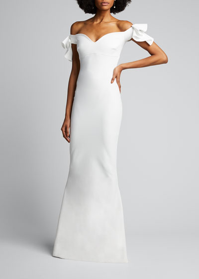 Ruffle-Sleeve Sweetheart Mermaid Gown