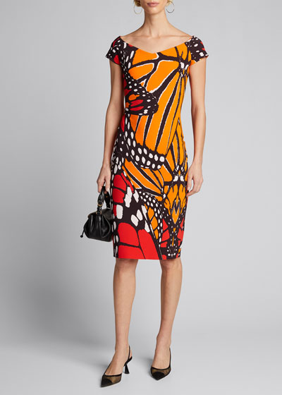Sally Cap-Sleeve Butterfly Dress