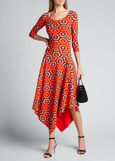 Geometric Scoop-Neck 3/4-Sleeve Asymmetrical Dress