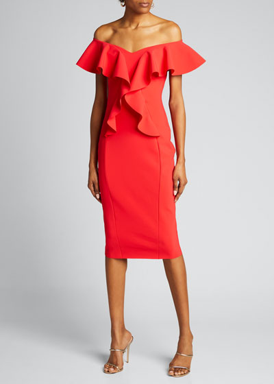 Off-the-Shoulder Ruffle Detail Sheath Dress