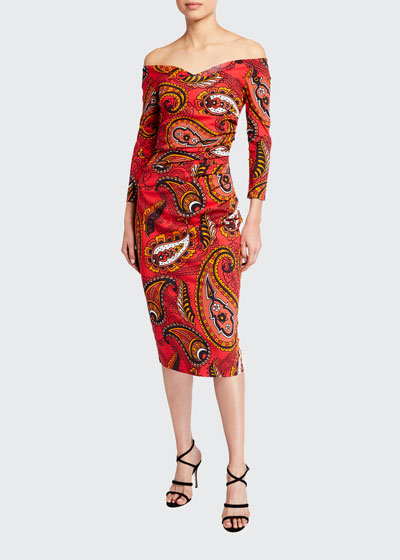 Paisley Print Off-the-Shoulder Sheath Dress