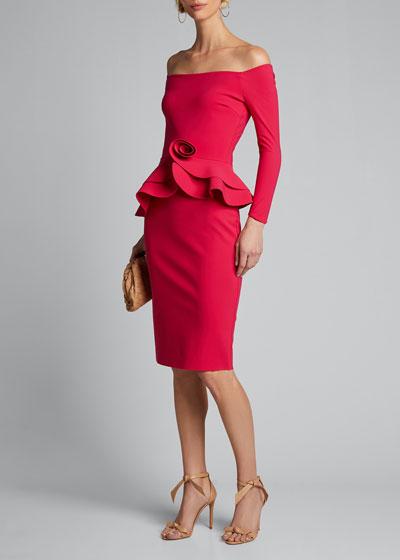 Rosette Peplum Off-the-Shoulder Dress