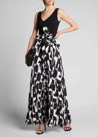 Sleeveless Rosette-Waist Pleated Gown
