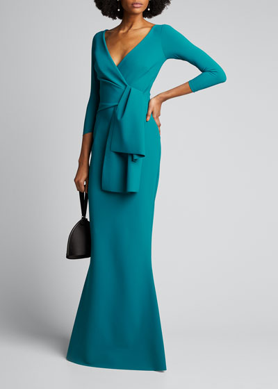V-Neck Front Knot-Flap Mermaid Gown
