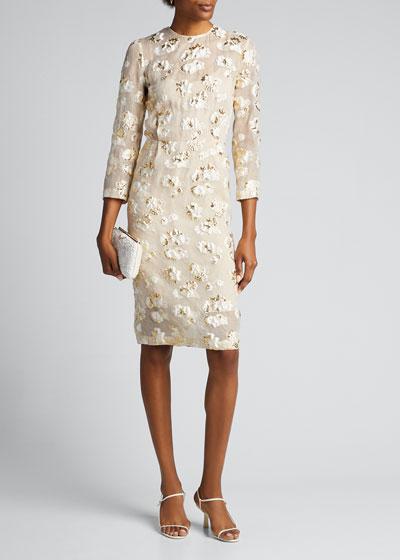 Haight Floral Metallic Sheath Dress