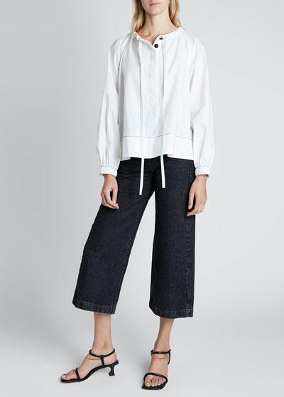 Long-Sleeve Cotton Tie-Neck Blouse