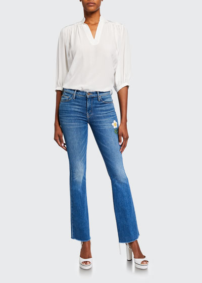 The Weekender Frayed Boot-Cut Jeans with Flower