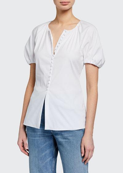 Wealth Balloon=Sleeve Button-Up Shirt