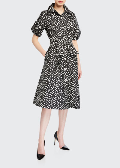 Polka-Dot Puff-Sleeve Belted Shirtdress