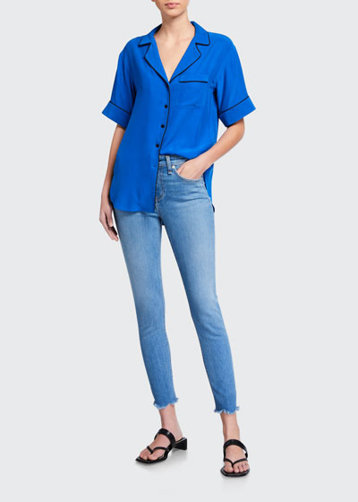 Cate Mid-Rise Skinny Ankle Fray Jeans