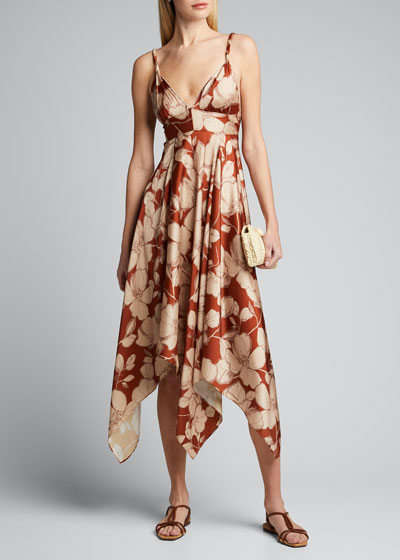 Gaiana Floral-Print Handkerchief Dress
