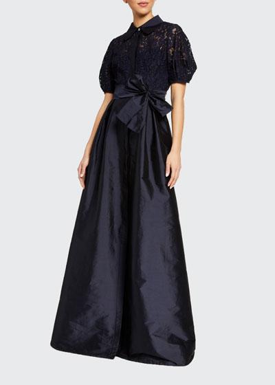 Puff-Sleeve Lace-Bodice Taffeta-Skirt Shirtdress