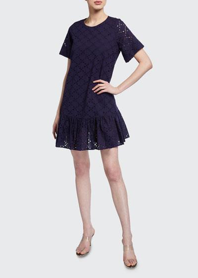 Cece Leaf Eyelet Flounce-Hem Short Dress