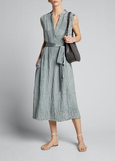Sleeveless Textured Popover Dress