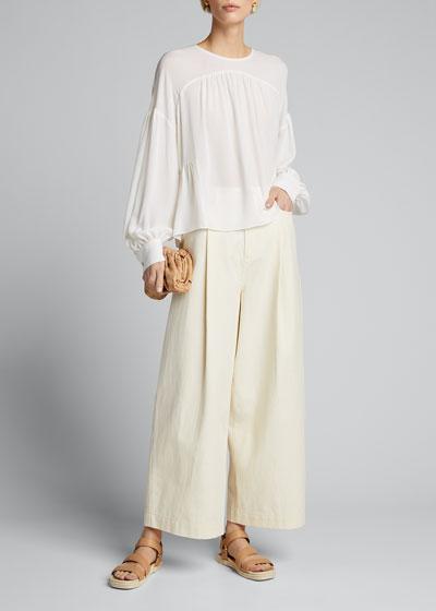 Shirred Long-Sleeve Silk Crepe Blouse