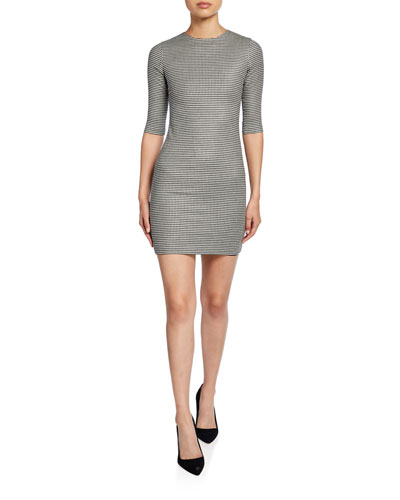 Delora Herringbone Crewneck 1/2-Sleeve Mini Dress