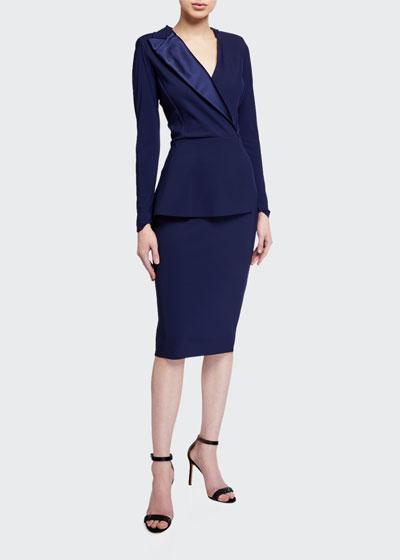 Satin Lapel Long-Sleeve Peplum Dress