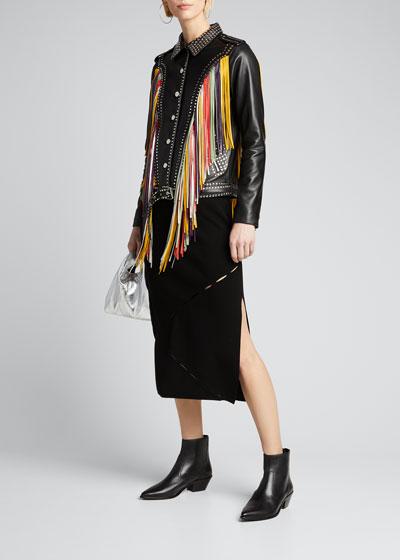 Geovana Fringe and Stud Leather Jacket