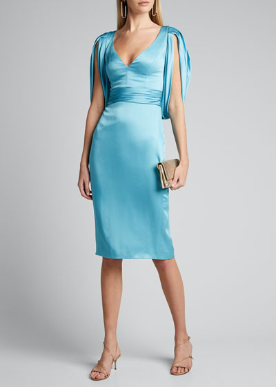 V-Neck Cocoon-Sleeve Satin Dress