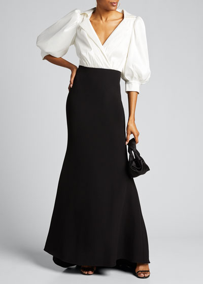 Two-Tone Puff-Sleeve Taffeta & Crepe Shirtdress