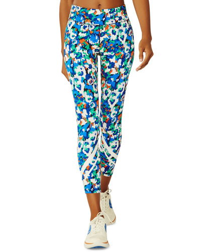 Floral-Print Chevron Cropped Activewear Leggings