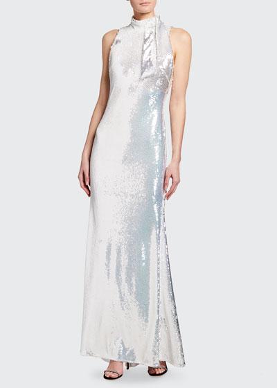 Sequin Tie-Neck Sleeveless Column Gown