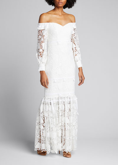Eyelet Lace Off-the-Shoulder Gown