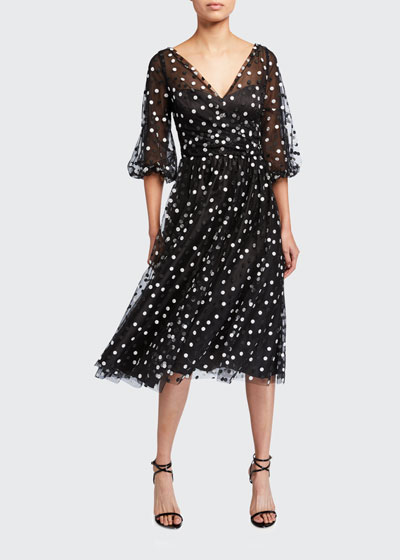 Dotted Tulle Puff-Sleeve Dress