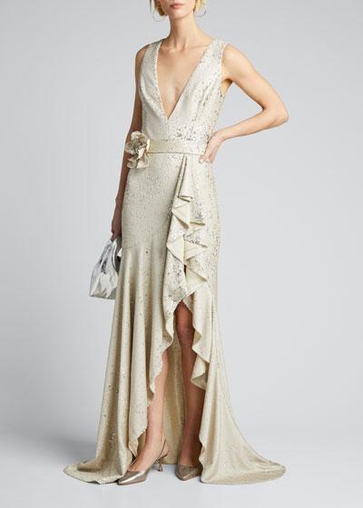 Sequin V-Neck Sleeveless Side-Ruffle Gown