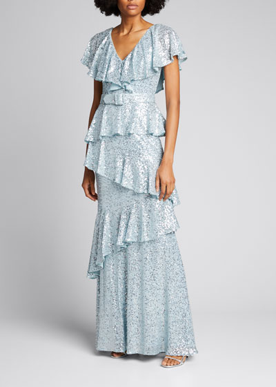 Sequin Tiered Ruffle Gown