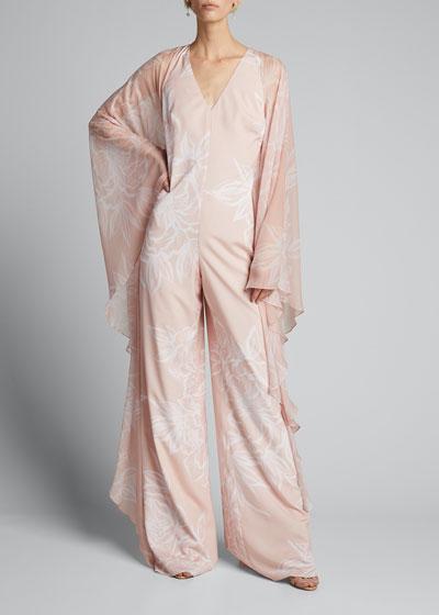 Floral Sheer-Sleeve Caftan Jumpsuit