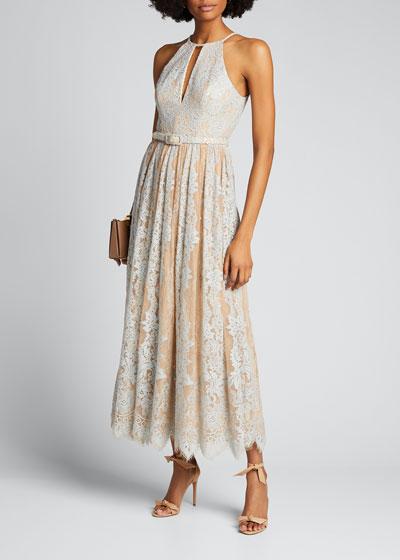 Sequin Lace Racer Halter Dress