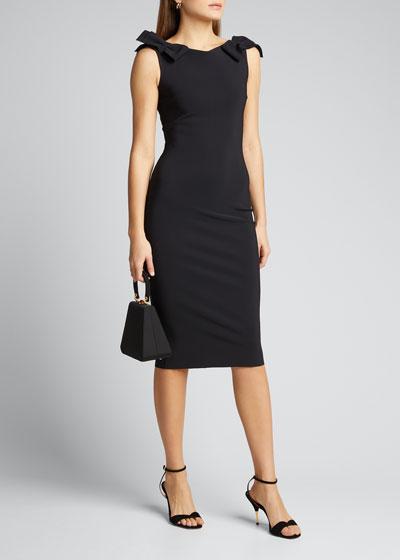 Bow-Shoulder Sleeveless Sheath Dress