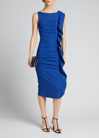 Sleeveless Ruffle-Trim Bodycon Dress